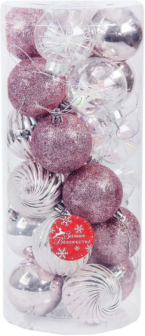 "Набор новогодних шаров ""Волшебство"", диаметр 6 см, 24 шт"