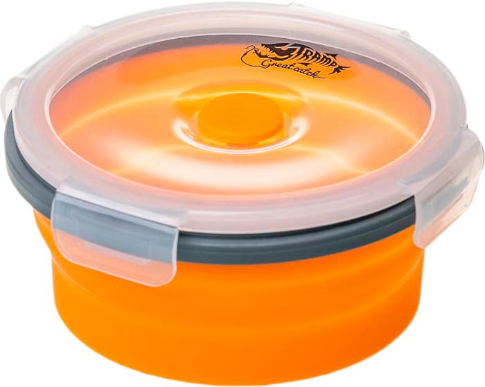 Контейнер Tramp Силиконовая посуда, с крышкой-защелкой, цвет: оранжевый, 800 мл. TRC-087 котелок tramp с крышкой сковородой цвет серый trc 039