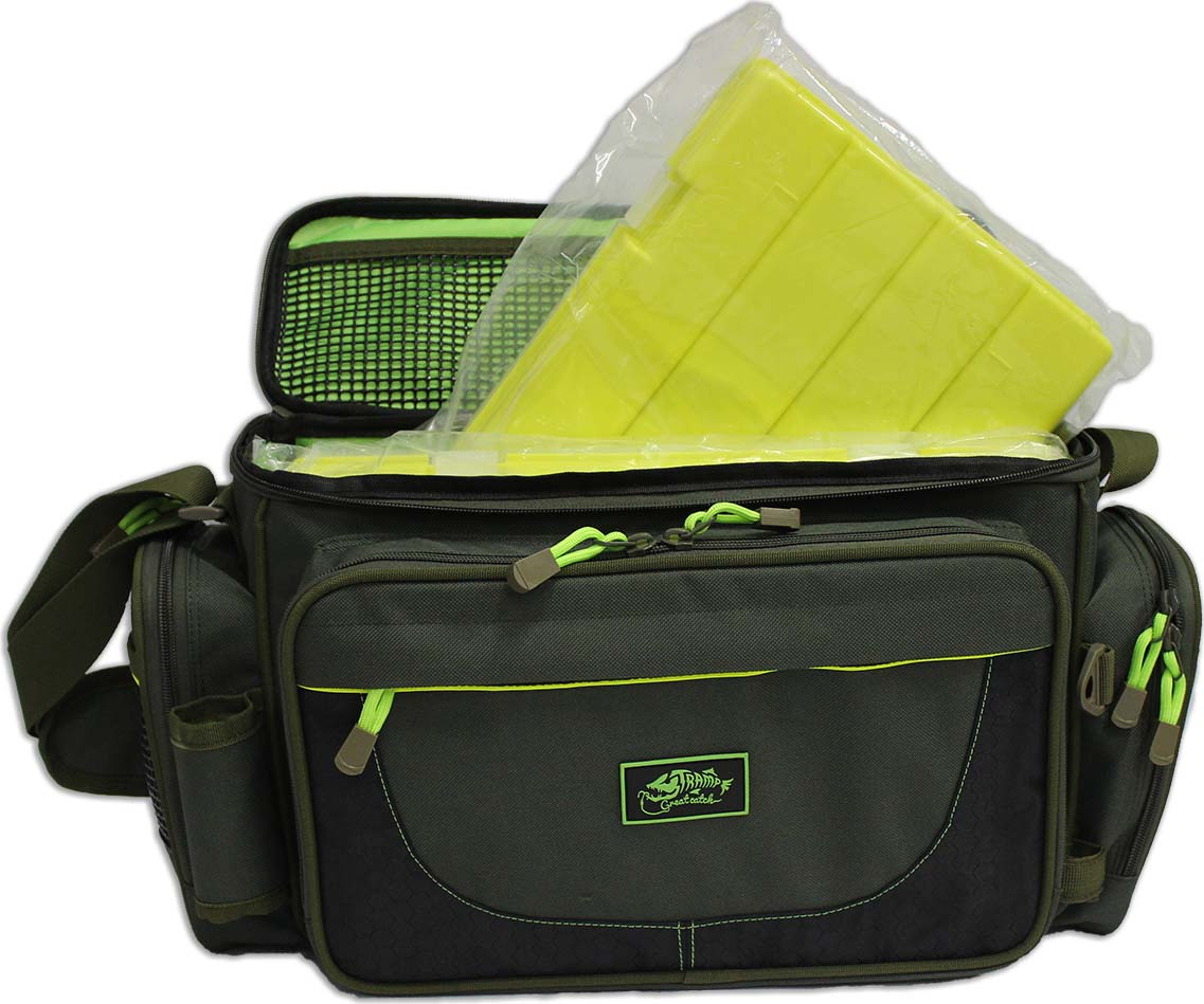 Сумка рыболовная Tramp, с пластиковыми ящиками, TRP-032, зеленый, 40 х 17 х 24 см цена