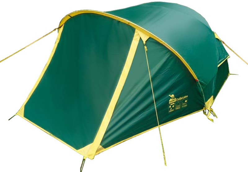 Палатка Tramp Colibri+ (V2), цвет: зеленый. TRT-35TRT-35двухслойная палатка с двумя входами, два тамбура, один 60 см, а другой - целых 140 см! Отличие от первой версии — большая водостойкость тента 6 000 мм и дна 8 000 мм.Спальня пошире, чем у Колибри = 140 * 220 см.Дуги пересекаются не в 1 точке наверху, а в 2. Поэтому конструкция очень крепкая.Трехсезонная: для пеших походов и велосипедных путешествий в весеннее, летнее и осеннее время. Пригодится также мотоциклистам и охотникам. Сначала ставится на двух дугах внутренняя палатка, затем сверху накрывается тентом.Входы расположены не с торцов, в с длинных сторон, продублированы москитной сеткой. Внешний тент палатки устойчив к ультрафиолетовому излучению и имеет пропитку, задерживающую распространение огня. Каркас из дюрапола - армированного стеклопластика. Два вентиляционных клапана и светоотражающие оттяжки и элементы на вентиляции. Все швы проклеены.2300 x 3400 мм