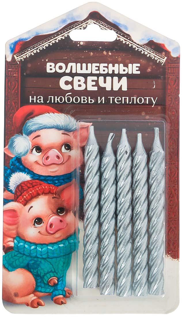 """Волшебная свеча на открытке Зимнее волшебство """"На любовь и теплоту!"""", 8,5 х 15 см, 5 шт"""