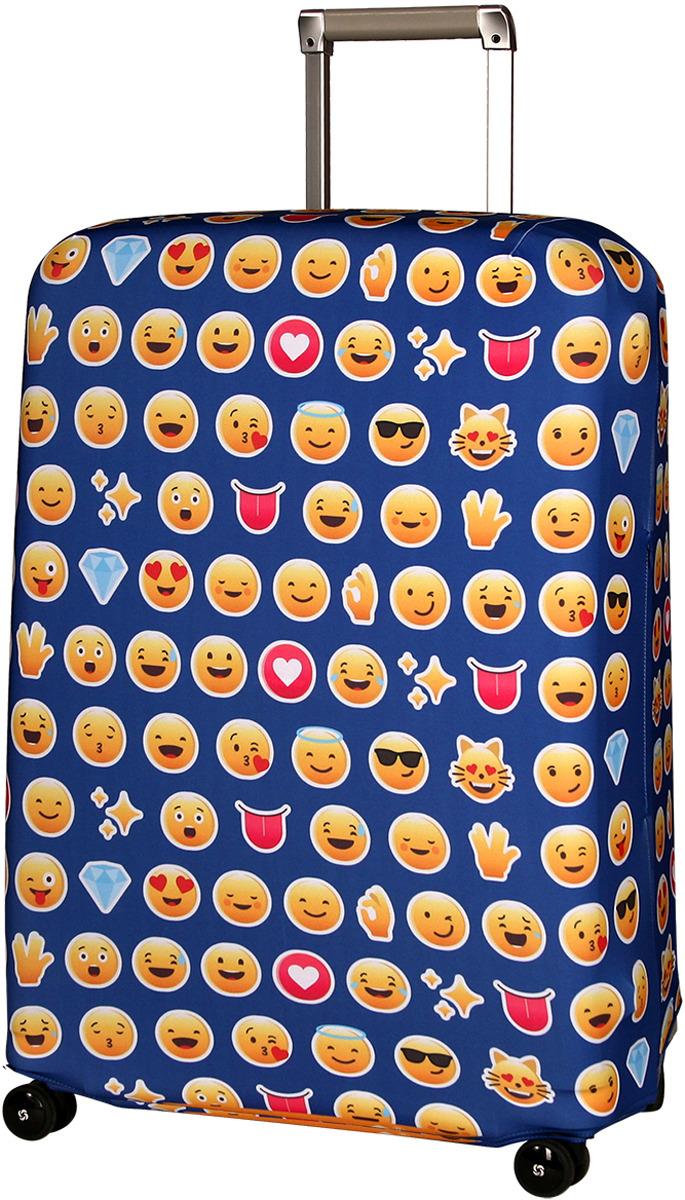 Чехол для чемодана Routemark Эмоджи, цвет: синий, размер L/XL чехол для чемодана routemark ромбик в красном цвет красный