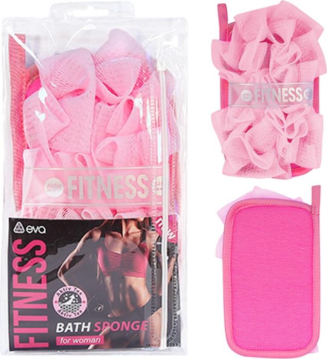 Мочалка Eva Fitness Woman AktiveTex M, цвет: розовый, 19 х 12 см