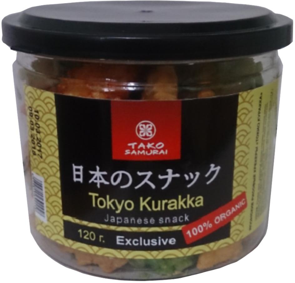 Снэки Тако Самурай Токио Куракка. Японские рисовые крекеры, 120 г снэки тако самурай дайдзу самурай японские снеки из бобовых 60 г