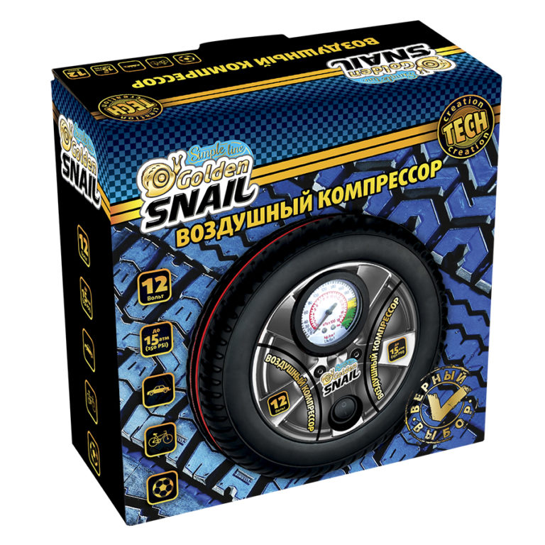 Компрессор автомобильный Golden Snail круглый автомобильный ароматизатор golden snail aroma football ванильный крем