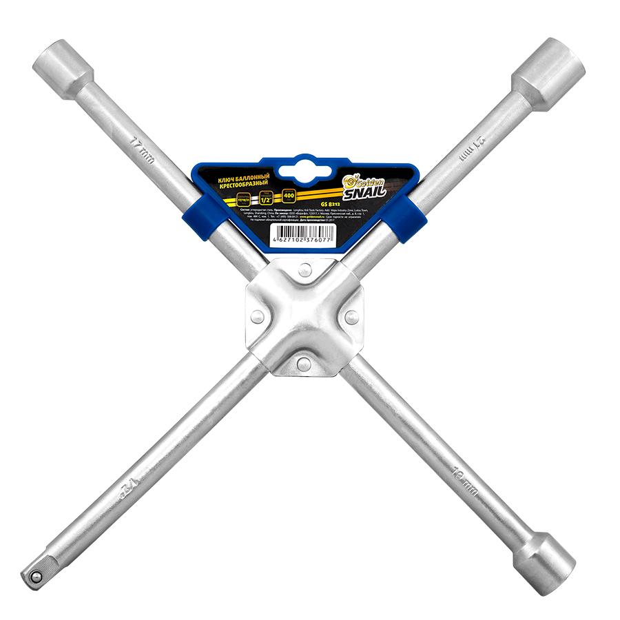 Ключ баллонный Golden Snail 'крест' 17x19x21x22х1/2 усиленный, хром