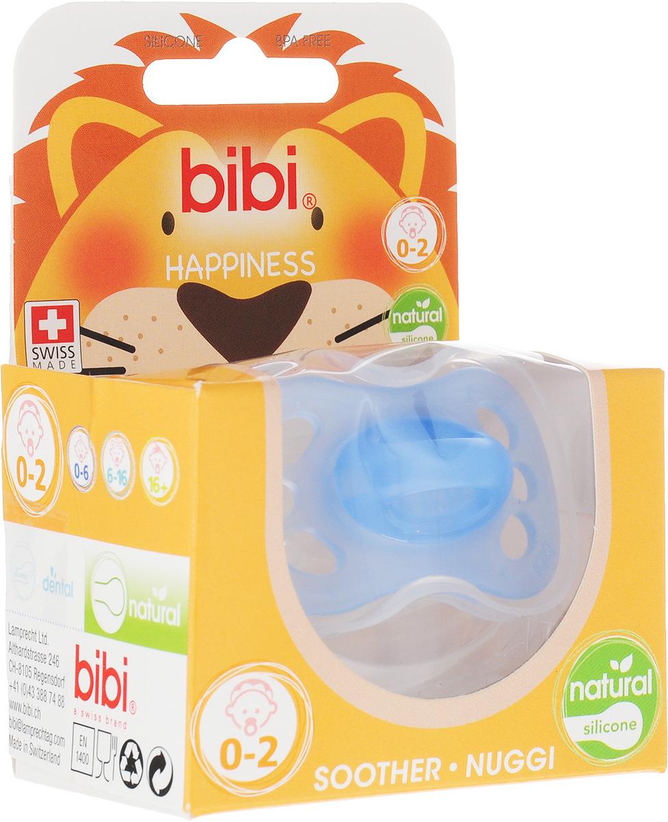 Bibi Пустышка силиконовая Happiness New Born от 0 до 2 месяцев цвет голубой lubby соска пустышка силиконовая с рельефной поверхностью от 3 месяцев цвет оранжевый 4640