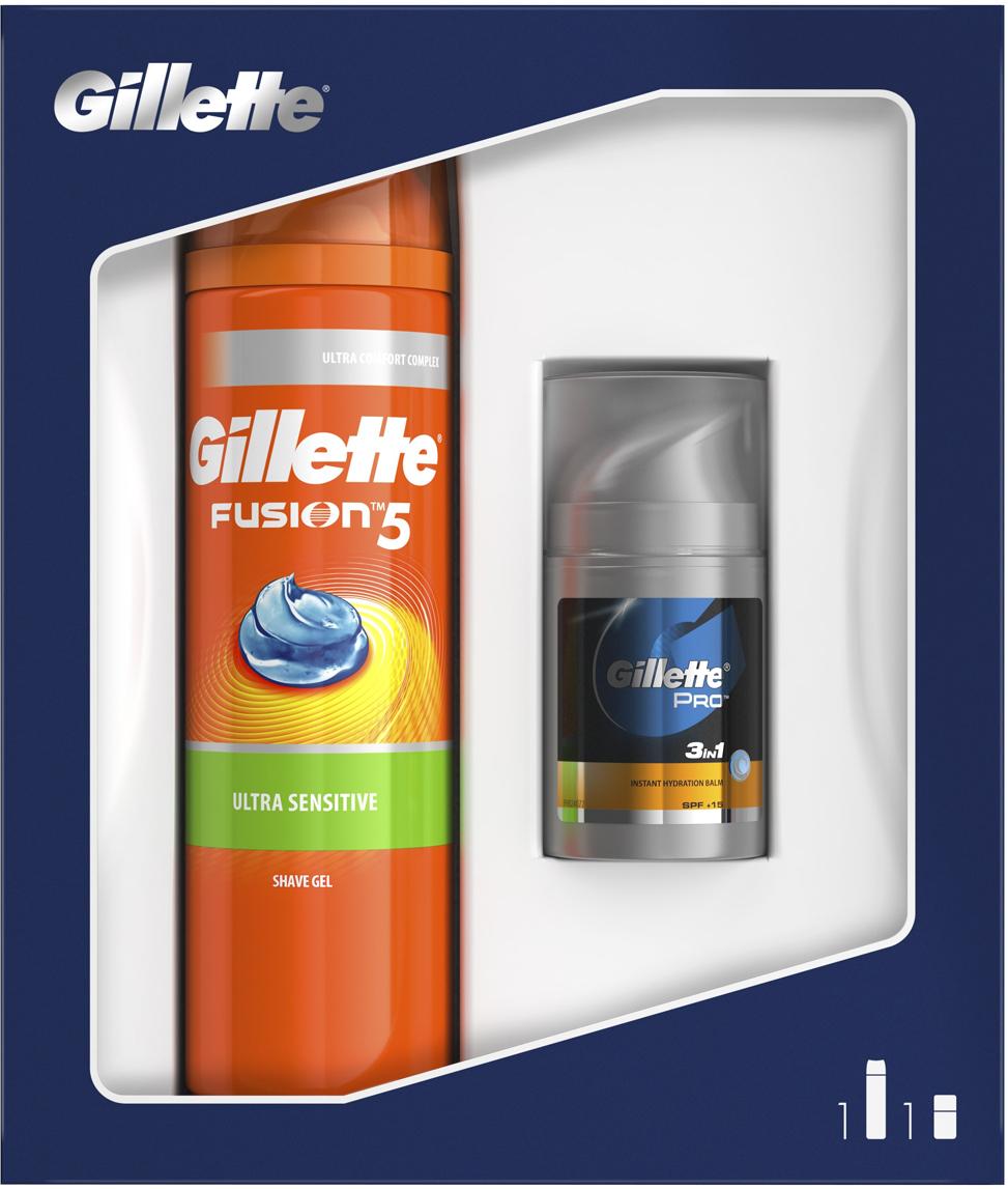 """Подарочный набор Gillette Fusion5: Гель для бритья, для чувствительной кожи, 200 мл, Бальзам после бритья """"Мгновенное увлажнение"""", 50 мл"""