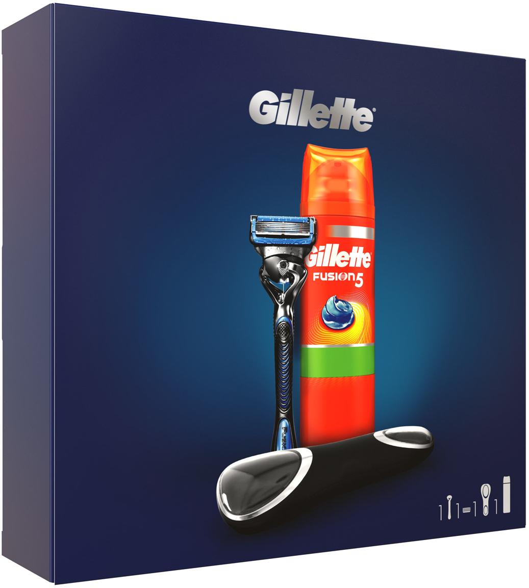 Подарочный набор Gillette Fusion5 ProShield Chill: Бритва, 1 кассета, Гель для бритья для чувствствительной кожи, 200 мл, Дорожный чехол