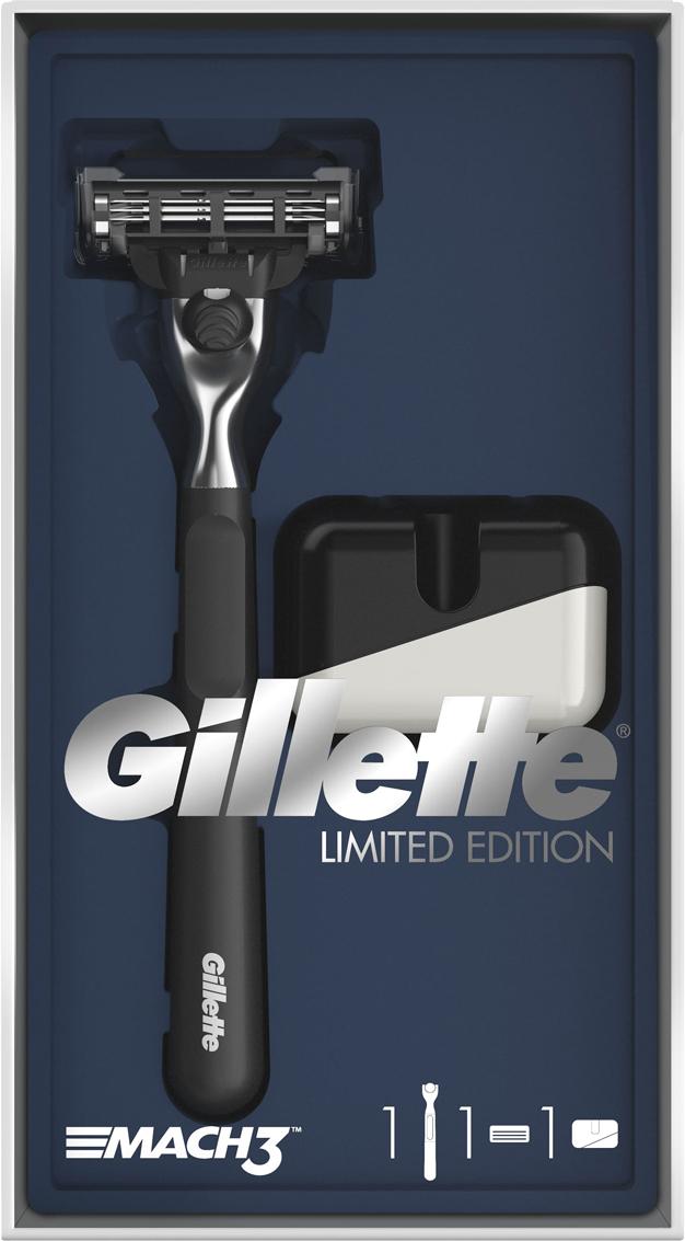 Подарочный набор Gillette Mach3: Бритва, с 1 сменной кассетой, Подставка