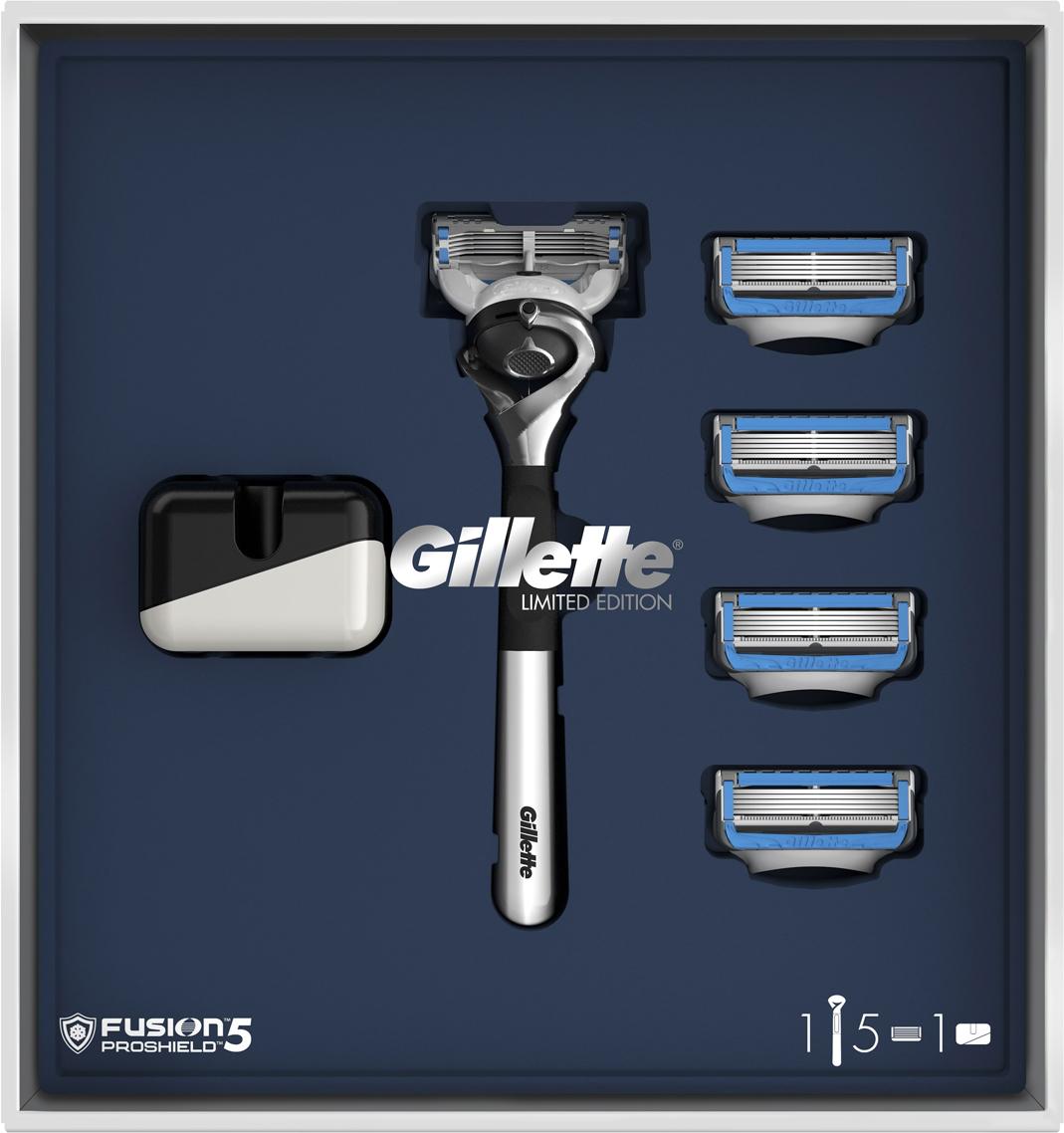 Подарочный набор Gillette Fusion5 ProShield Chill: Бритва, 5 сменных кассет, Подставка