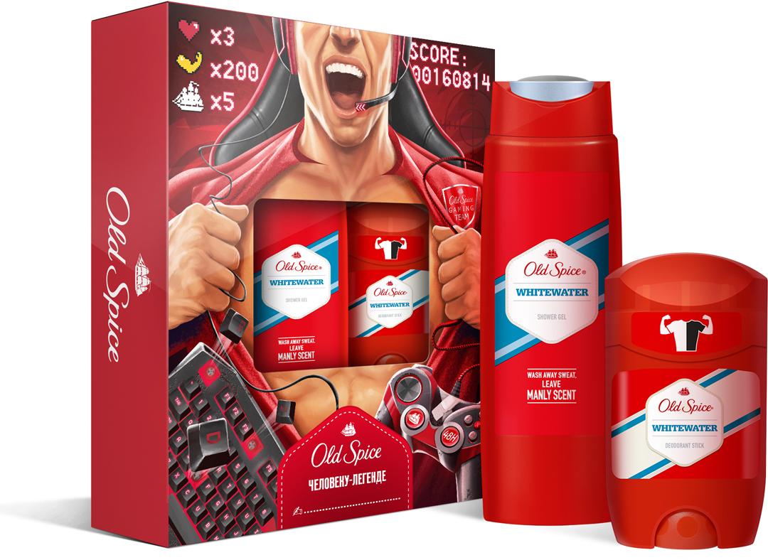 Подарочный набор Old Spice Whitewater: Твердый дезодорант, 50 мл, Гель для душа, 250 мл