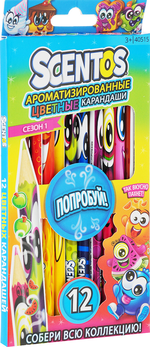 """Набор цветных карандашей """"Scentos"""", ароматизированный, 12 шт"""