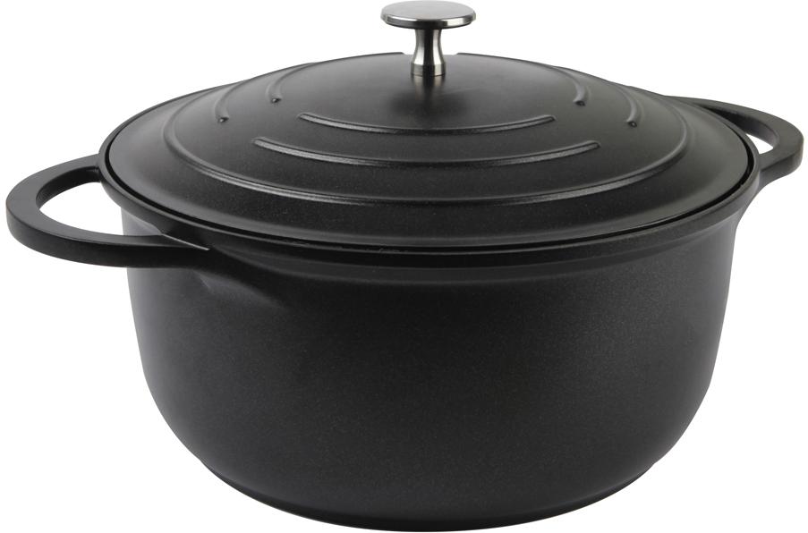 Кастрюля Rondell, с крышкой, цвет: черный. Диаметр 24 см. RDA-965