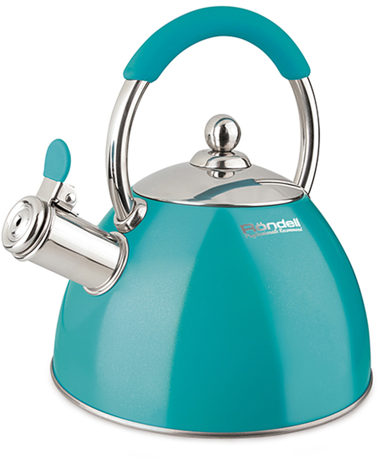 Чайник Rondell Turquoise, цвет: бирюзовый, 2 л чайник катунь кт 106f бирюзовый 2 5 л нержавеющая сталь
