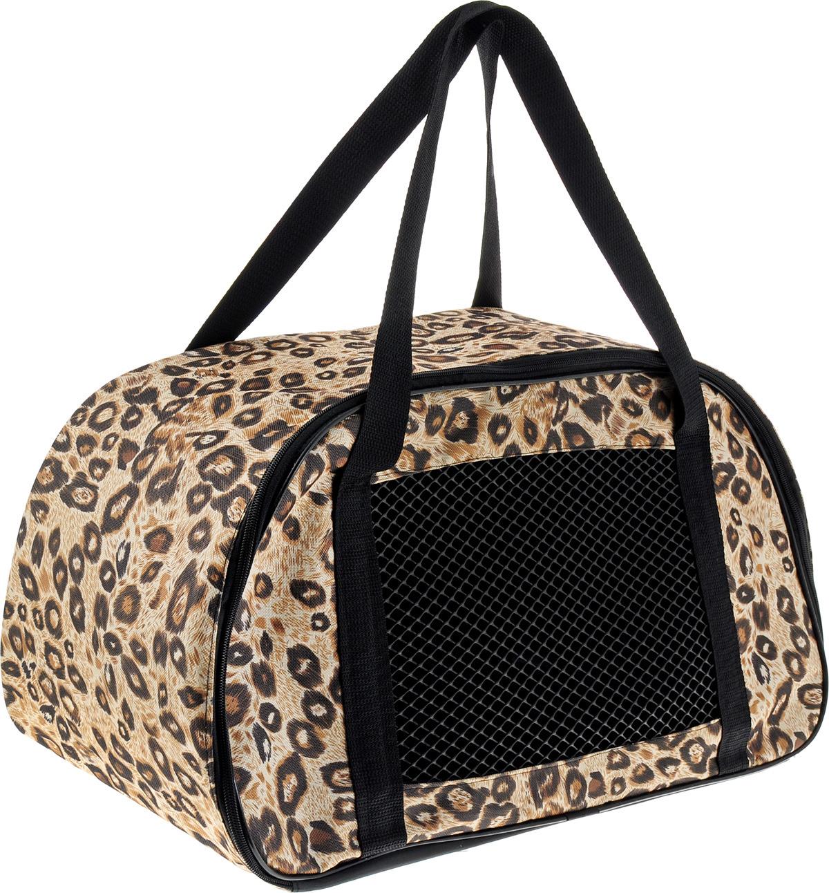 Сумка-переноска для животных Теремок, цвет: леопардовый, 56 х 28 х 30 см сумка переноска для животных pets inn цвет черный
