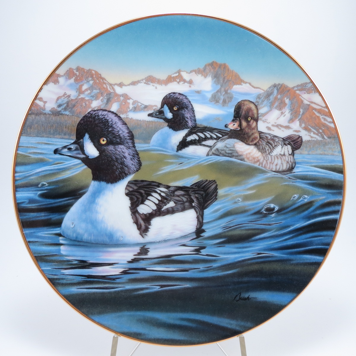 """Декоративная коллекционная тарелка """"Птицы Севера: Отправление. Исландский Гоголь"""". Фарфор, деколь, золочение. Канада, Dominion China, Даррелл Буш, 1991"""