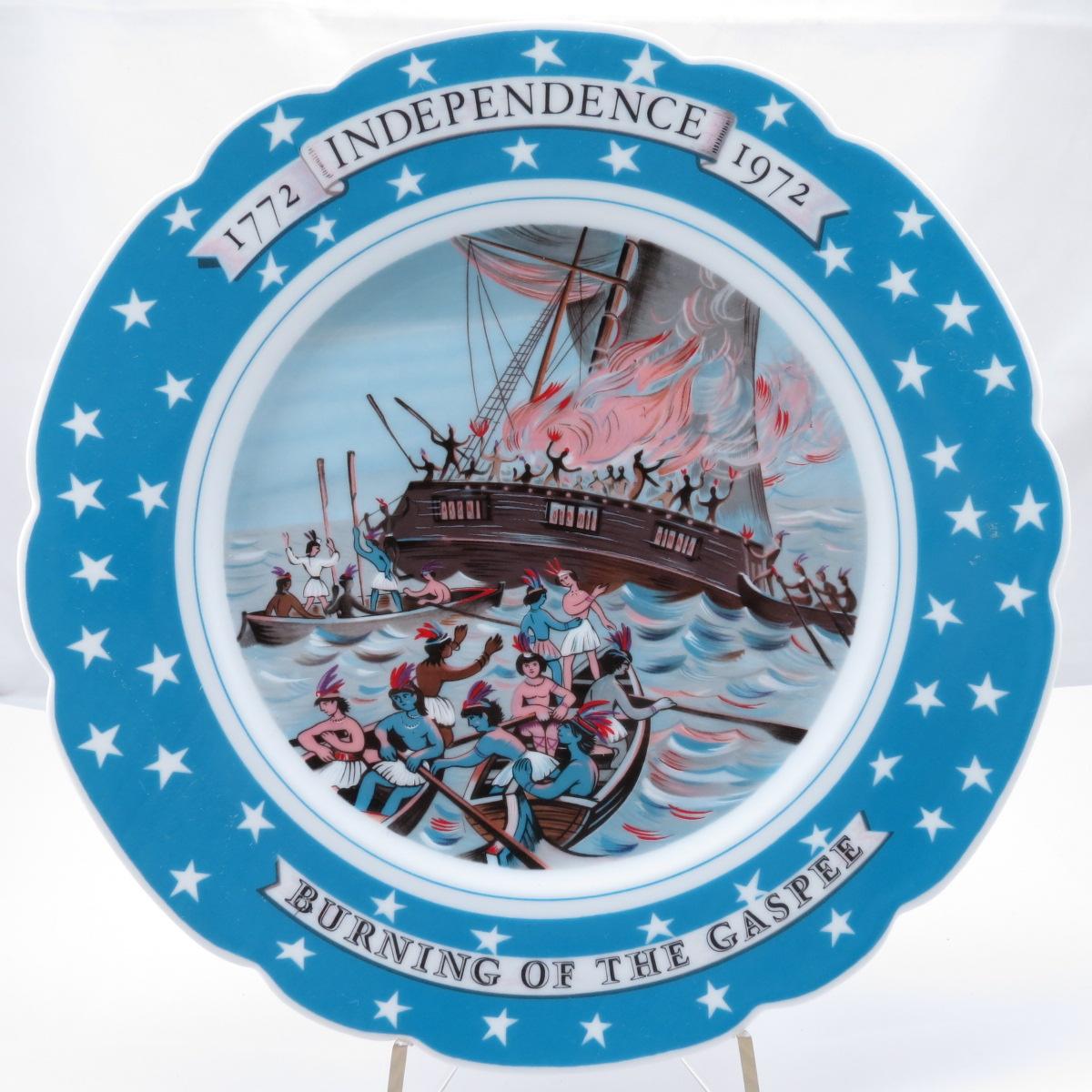 """Декоративная тарелка из серии """"Война За Независимость США: Сожжение Гаппе, 1772-1972"""", фарфор, деколь"""