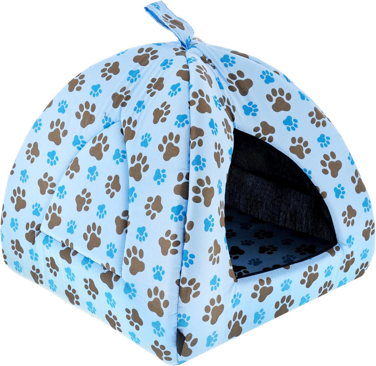 Домик для кошек и собак Гамма Юрта. Лапы, цвет: голубой, 40 х 40 х 36 см лоток для кошек vanness с аксессуарами цвет голубой бежевый 48 см х 38 см х 19 см