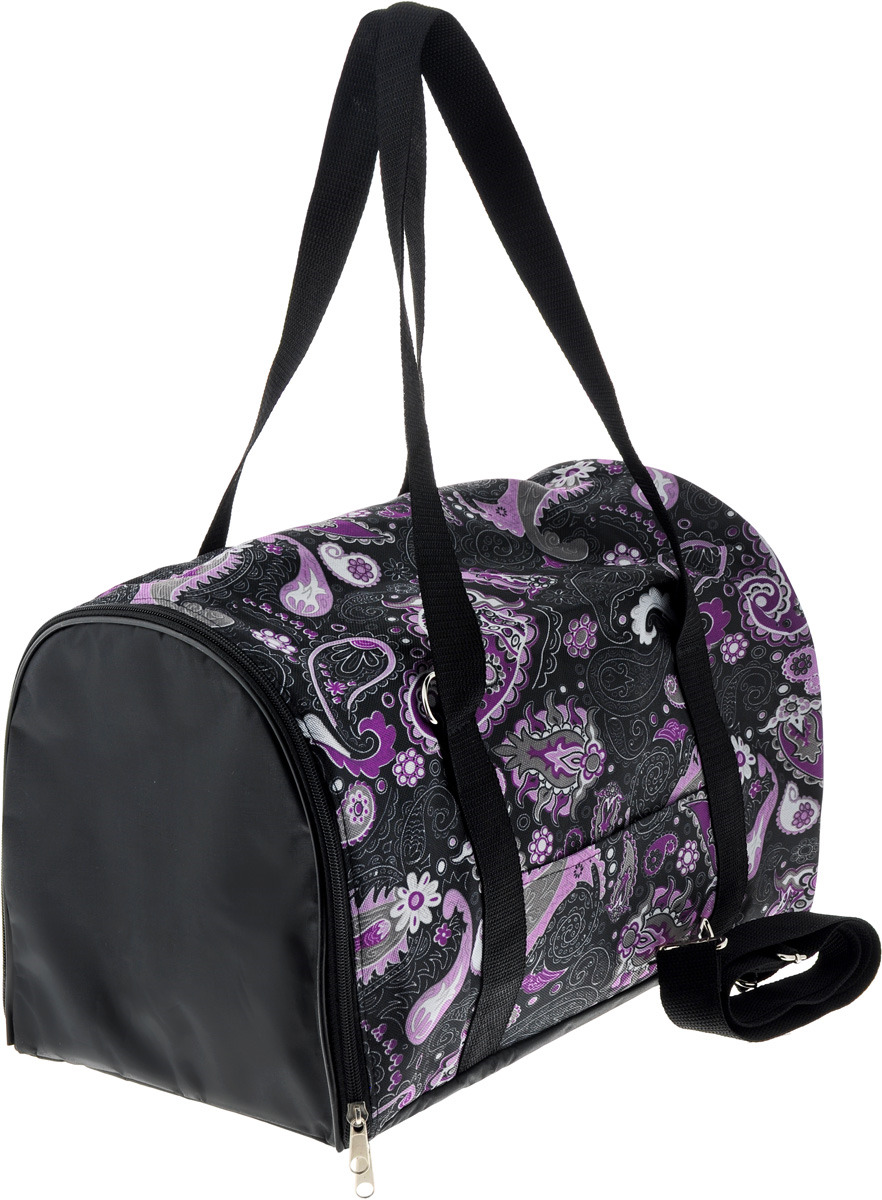 Сумка-переноска для животных Теремок Лапы, цвет: черный, фиолетовый, 40 х 23 х 23 см сумка переноска для животных pets inn цвет черный