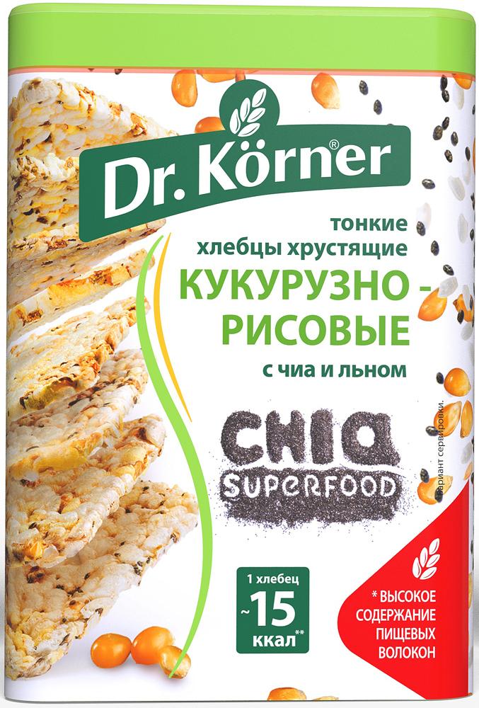 Хлебцы хрустящие кукурузно-рисовые с чиа и льном Dr. Korner, 100 г dr oetker пикантфикс для грибов 100 г