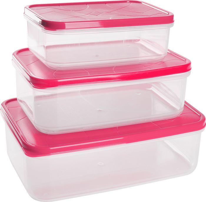 Набор контейнеров для продуктов Giaretti Vitamino, GR1856СМ, сладкая малина, 3 шт комплект емкостей для продуктов giaretti с завинчивающейся крышкой цвет сладкая малина 2 шт