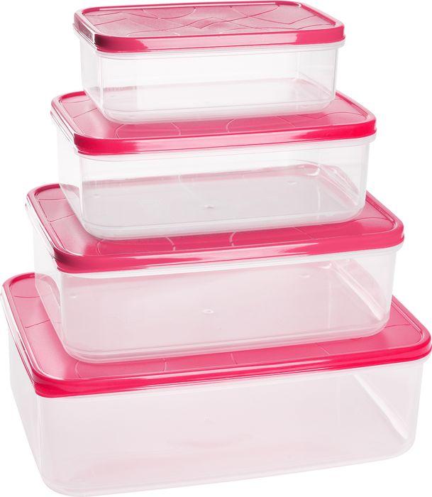 Набор контейнеров для продуктов Giaretti Vitamino, GR1857СМ, сладкая малина, 4 шт цены