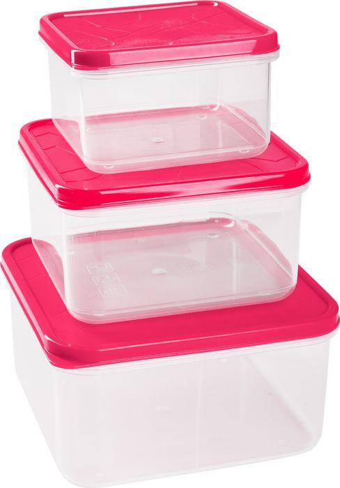 Набор контейнеров для продуктов Giaretti Vitamino, цвет: сладкая малина, 0,4 л + 0,7 л + 1,2 л комплект емкостей для продуктов giaretti с завинчивающейся крышкой цвет сладкая малина 2 шт