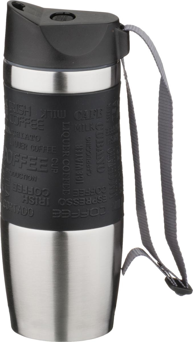 Термокружка Agness, цвет: черный, 400 мл. 709-037