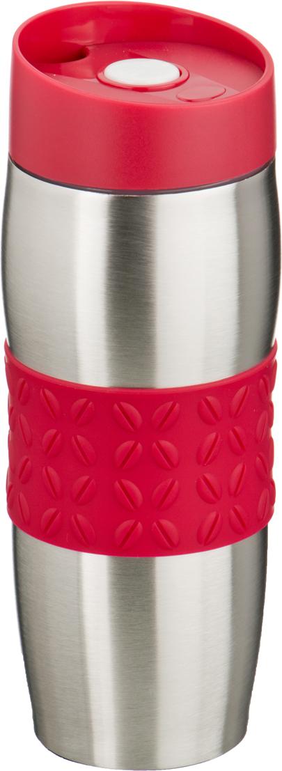 Термокружка Agness, цвет: красный, с силиконовой вставкой, 400 мл. 709-052
