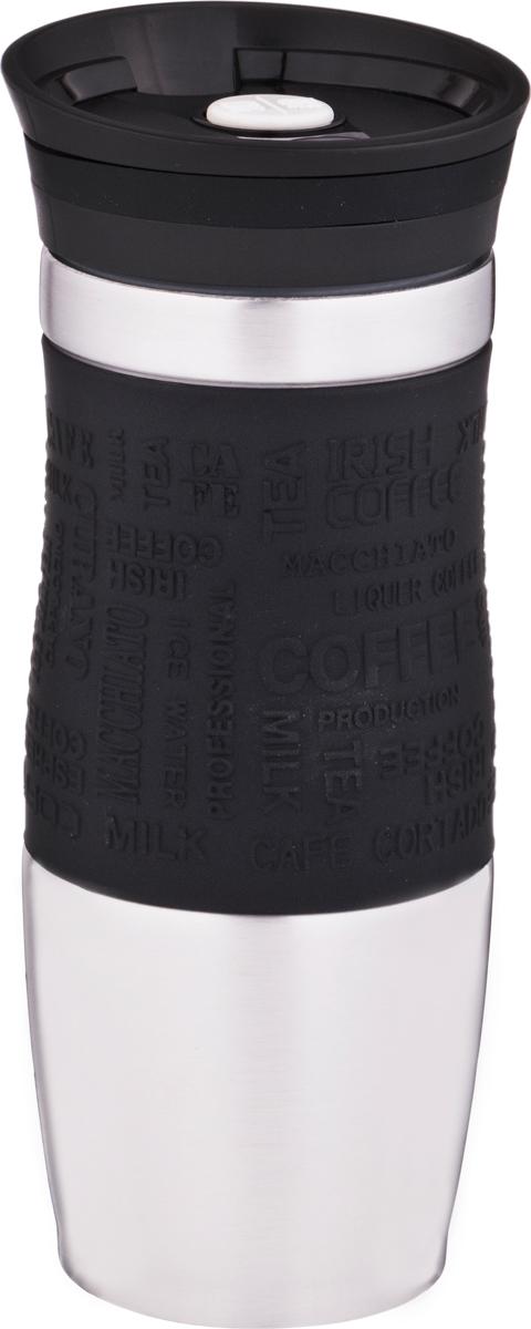 Термокружка Agness, цвет: черный, 380 мл. 709-063