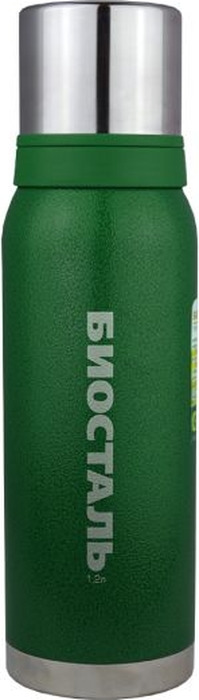 """Термос Biostal """"Охота"""", с 2 чашками, цвет: зеленый, 1,2 л"""