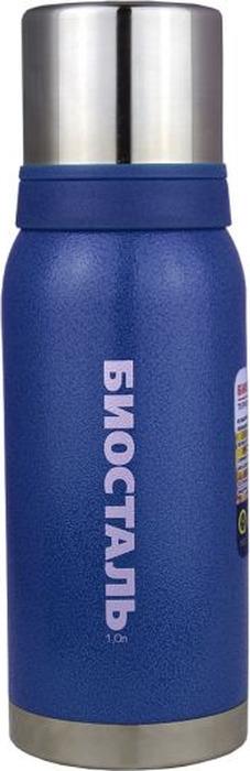 """Термос Biostal """"Охота"""", с 2 чашками, цвет: синий, 1 л"""