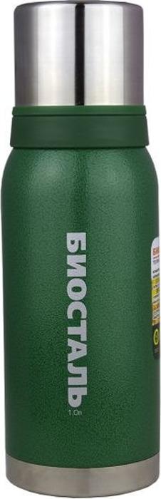 """Термос Biostal """"Охота"""", с 2 чашками, цвет: зеленый, 1 л"""