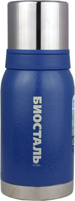 """Термос Biostal """"Охота"""", с 2 чашками, цвет: синий, 0,75 л"""