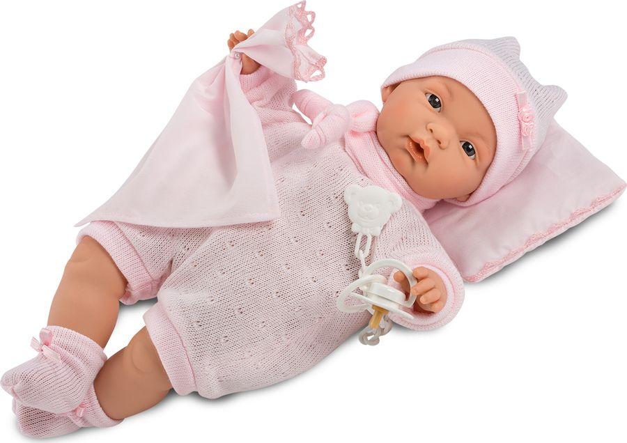 Кукла Llorens Жоелле, со звукомL 38940Кукла изготовлена из ПВХ с мягконабивным туловищем с наполнителем из синтетического волокна. Плачет и говорит мама/папа, если вынуть соску изо рта куклы. Механизм звука зашит в спинку куклы под одежду. Одета в розовый комбинезон, шапочку и носочки. С подушкой и платочком. Глаза у куклы не закрываются. Упакована в подарочную упаковку.
