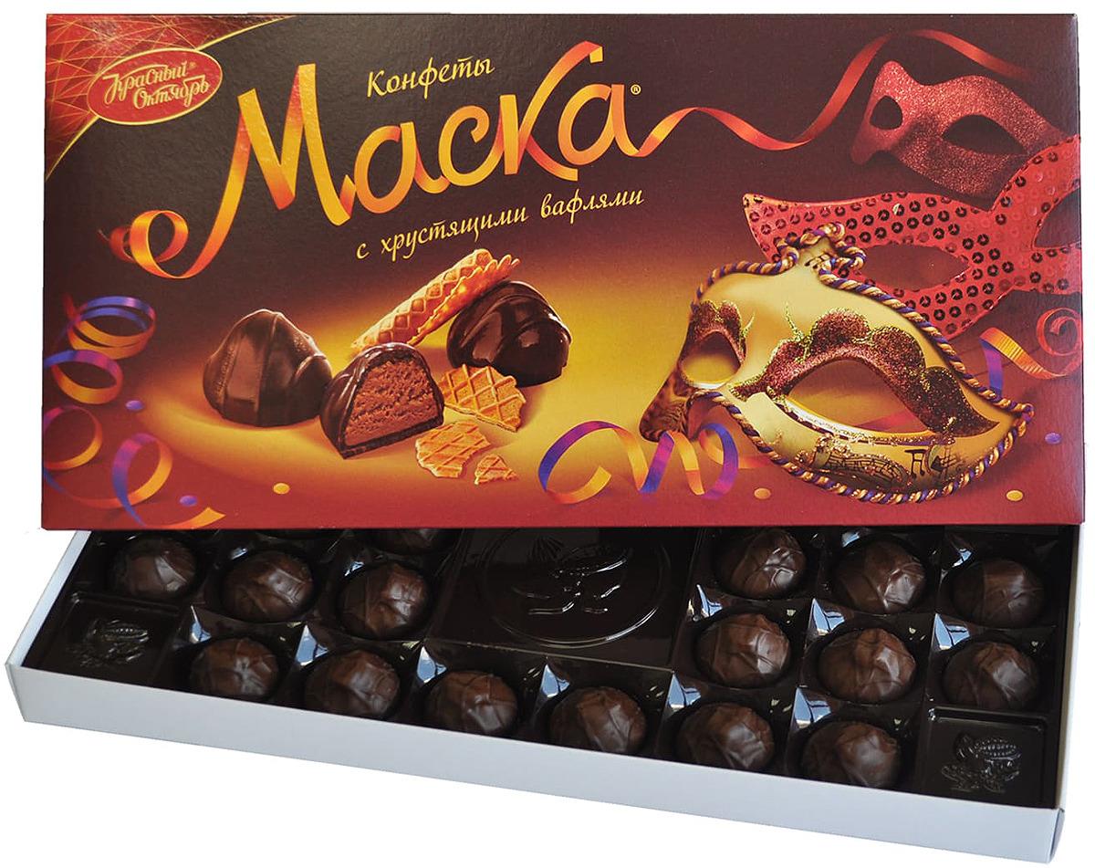 Фото - Конфеты с хрустящими вафлями Рот Фронт Маска, 300 г рот фронт коровка конфеты со вкусом топленое молоко в шоколадной глазури 250 г