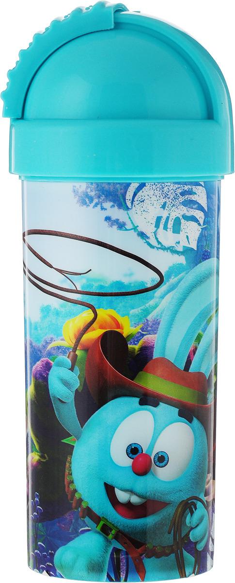 Стакан детский Смешарики, с крышкой и трубочкой, цвет: бирюзовый, 400 мл disney стакан детский тачки 3 с крышкой и трубочкой 400 мл