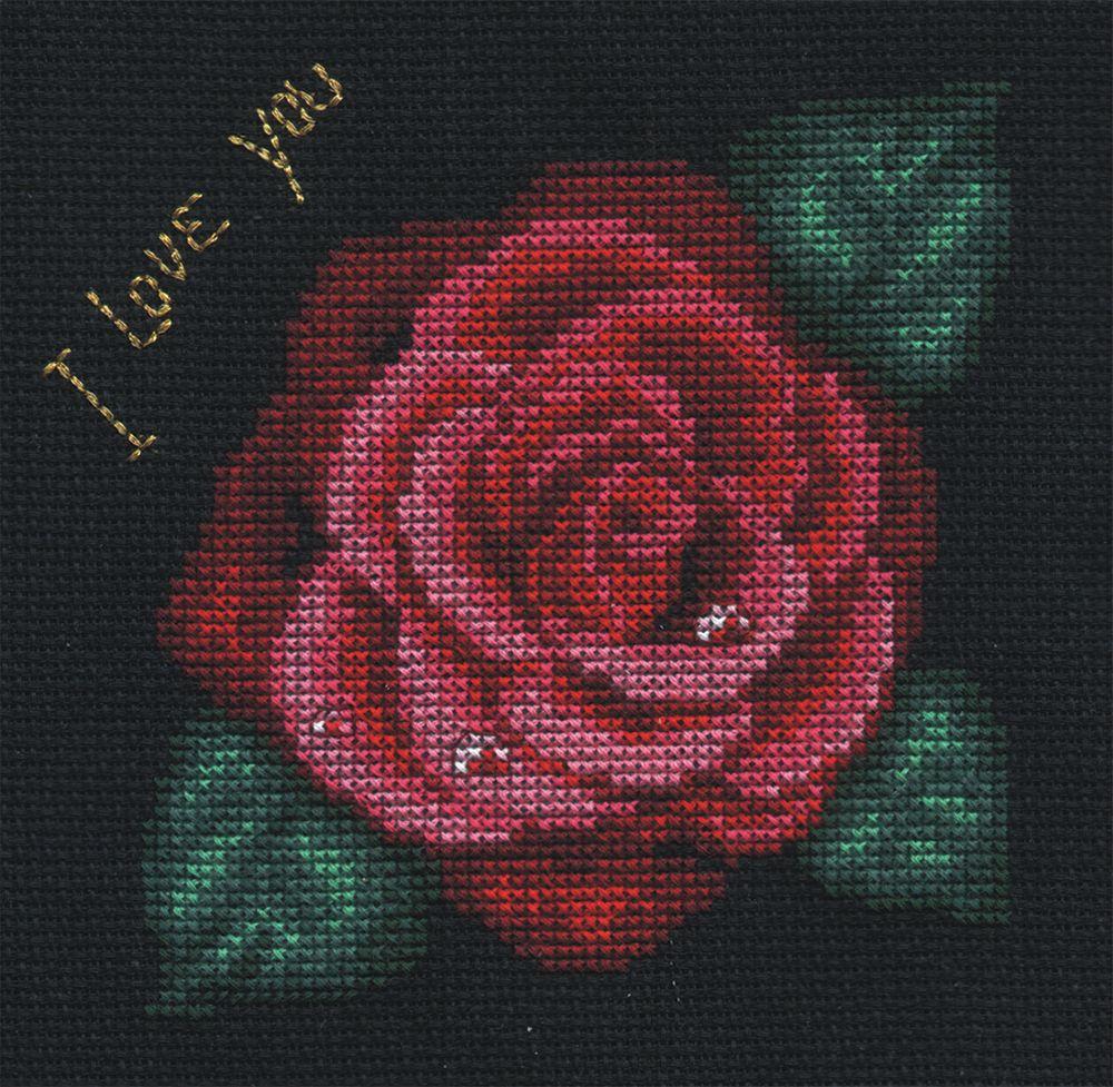 Набор для вышивания крестом Panna Роза, 12,5 х 12,5 см набор для вышивания крестом panna благословение успех 27 х 15 см