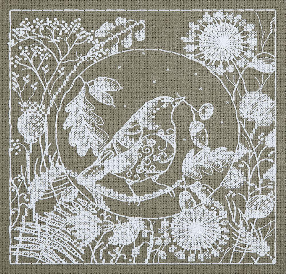 Набор для вышивания крестом Panna Белое кружево. Птица, 16 х 16,5 см набор для вышивания крестом panna орхидея 30 х 18 см