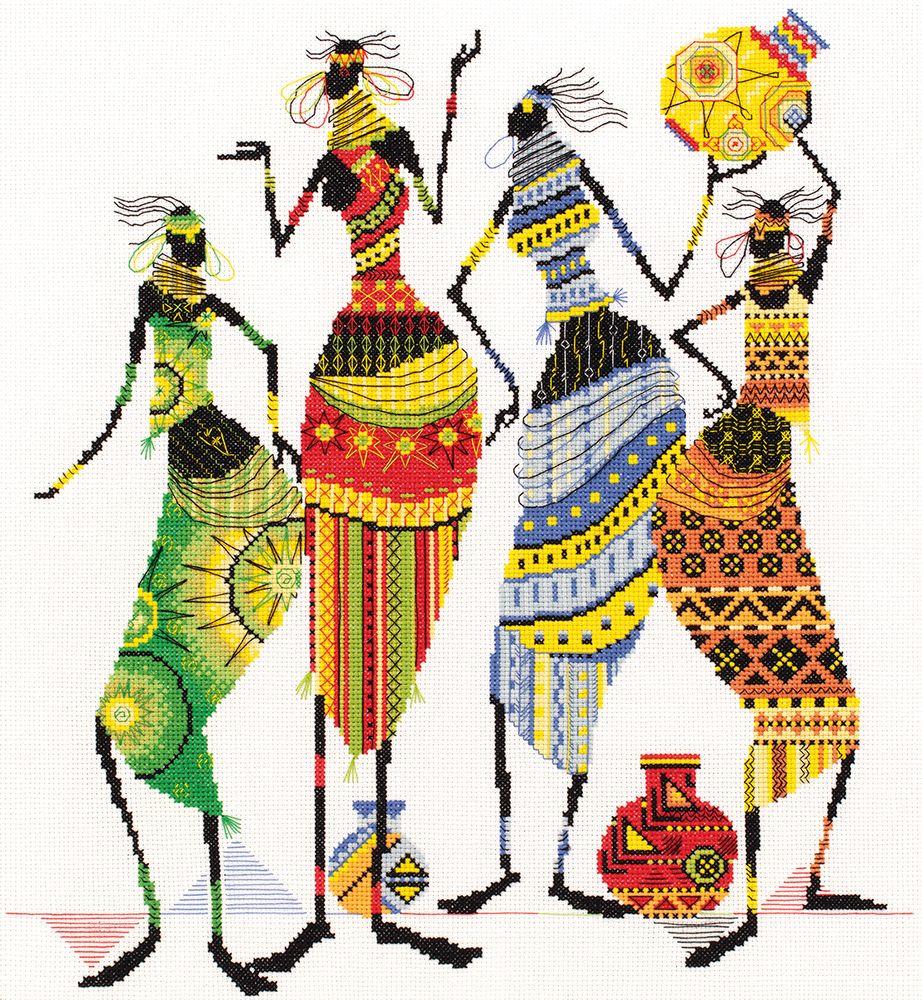 Набор для вышивания крестом Panna Африка. Африканочки-подружки, 38 х 43 см набор для вышивания крестом panna орхидея 30 х 18 см