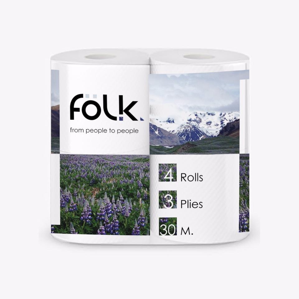 Туалетная бумага FOLK 4 рулона в упаковке forest folk