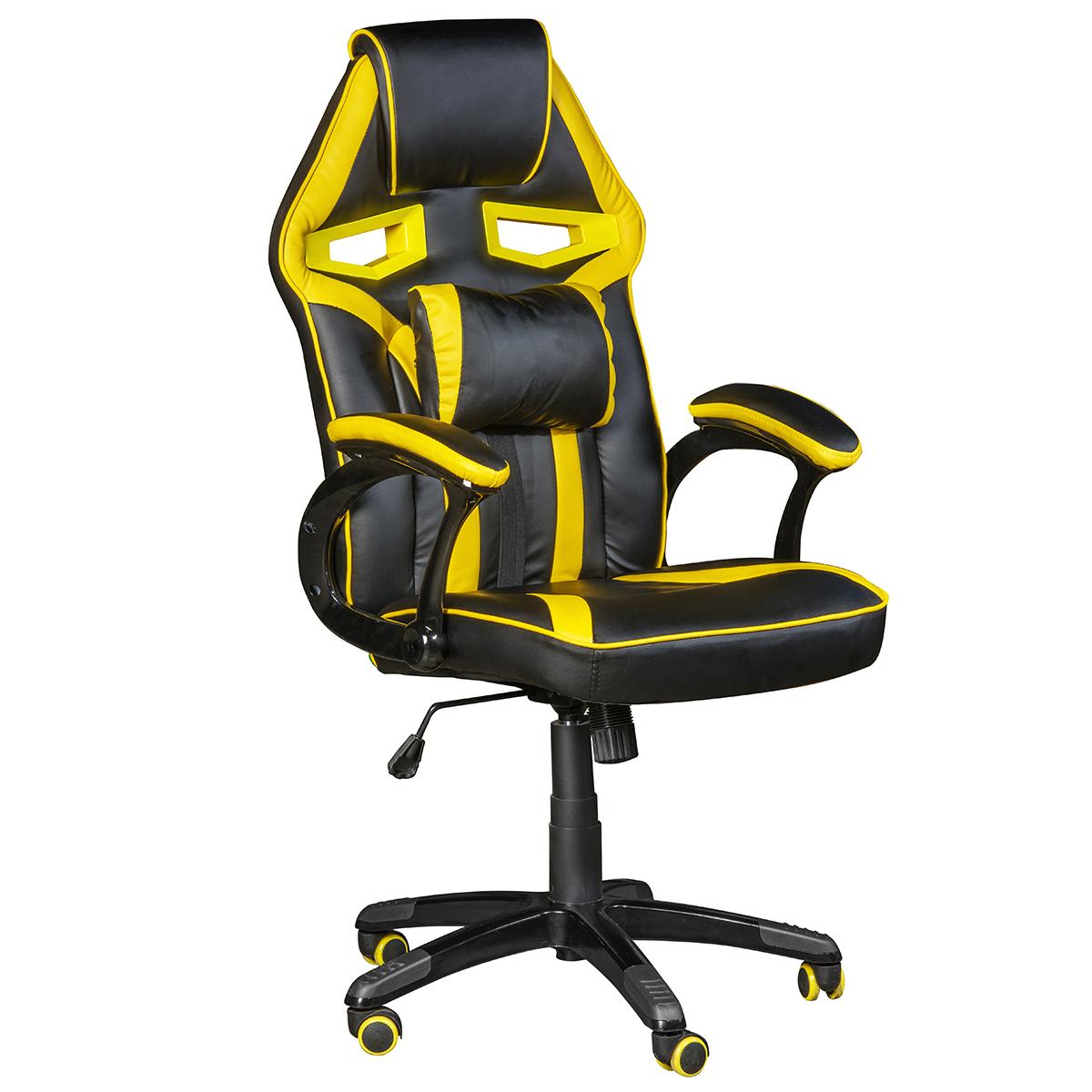 Кресло игровое Costway, ZK8066YE, черный, желтый компьютерные кресла и стулья