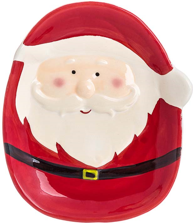 Блюдо Elan Gallery Дед Мороз, цвет: белый, 18,5 х 14,5 х 2 см блюдо для горячего elan gallery белый шиповник 42 х 22 5 см