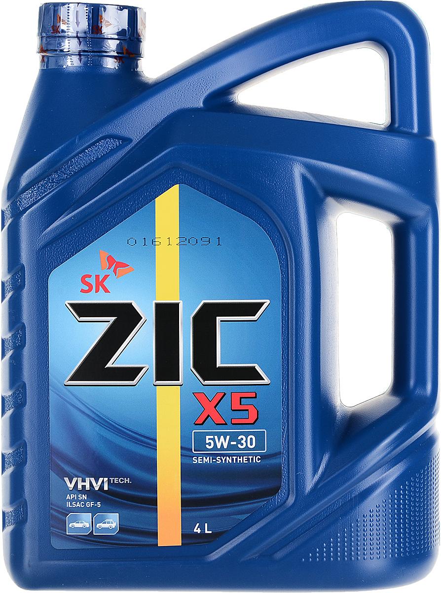 Масло моторное ZIC X5, полусинтетическое, класс вязкости 5W-30, API SN, 4 л. 162621