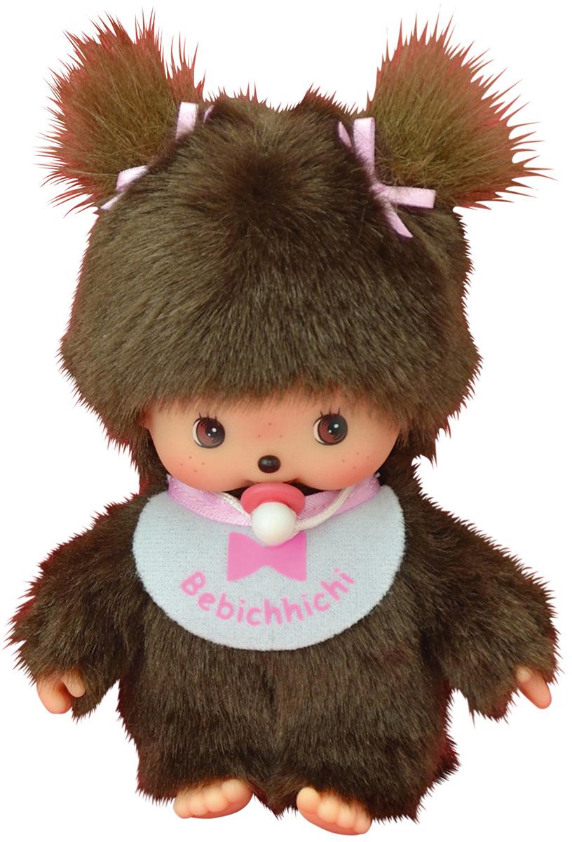 """Мягкая игрушка Monchhichi Bebichhichi """"Девочка в розовом слюнявчике"""", 15 см"""