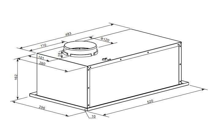 Кухонная вытяжка MAUNFELD CROSBY LIGHT 52  INOX Gl, нержавеющая сталь Maunfeld