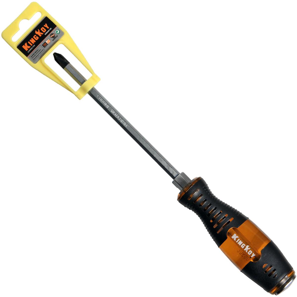 купить Отвертка крестовая King Roy, ударная, с шестигранником под гаечный ключ, 4 х 150 мм онлайн