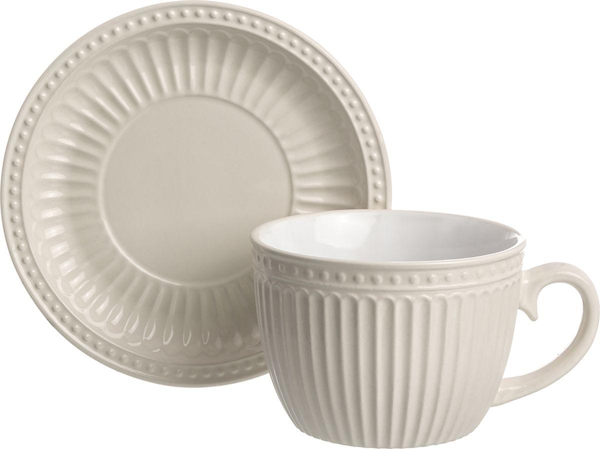 Чайная пара Elan Gallery Топленое молоко, для капучино и латте, ребристая, 450 мл кружка elan gallery пастель 330 мл топленое молоко