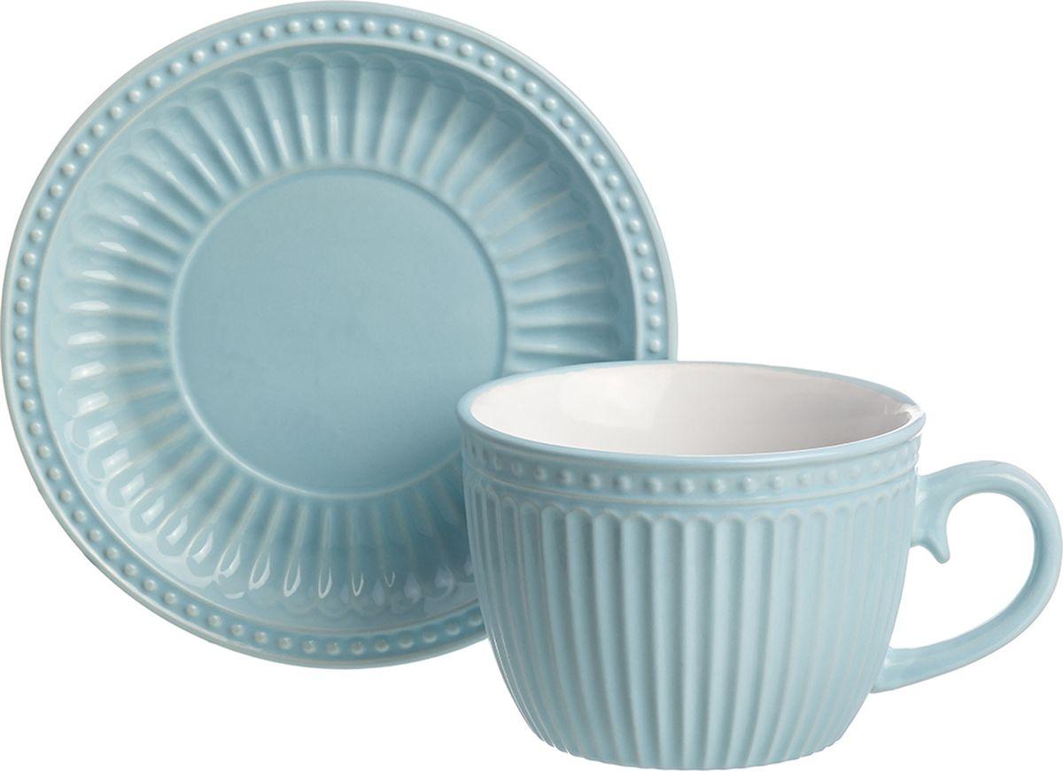 "Чайная пара Elan Gallery ""Небесная"", для капучино и латте, ребристая, 450 мл"